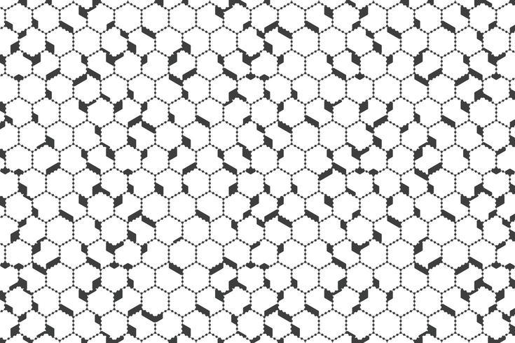Motif hexagonal de contour de point noir abstrait vecteur