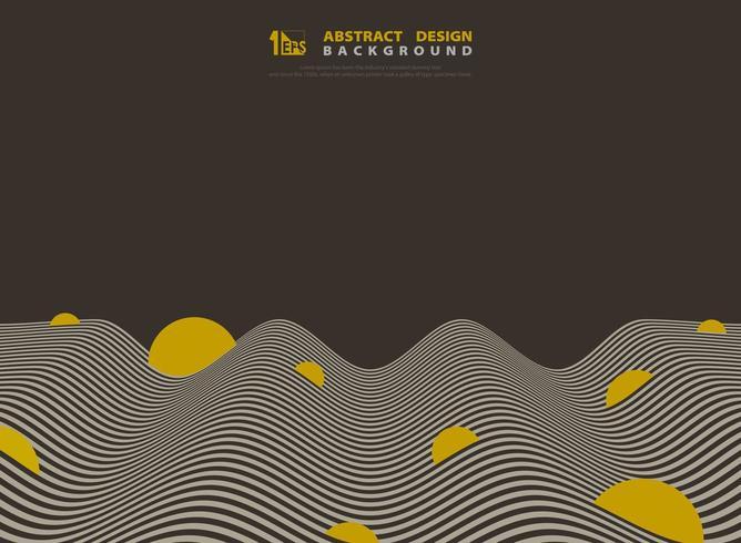 Abstrait motif de lignes ondulées optiques marron et jaune vecteur