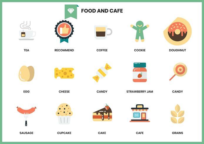 Ensemble d'icônes café et nourriture vecteur
