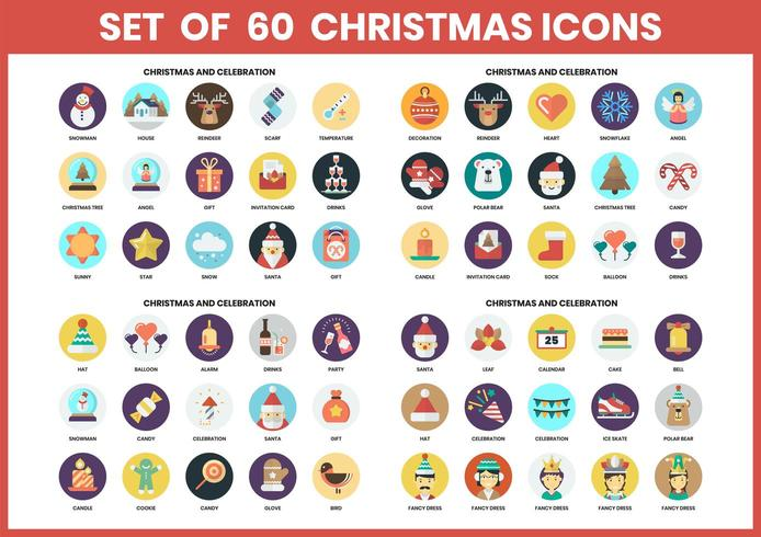 Icônes de Noël circulaires définies pour les entreprises vecteur