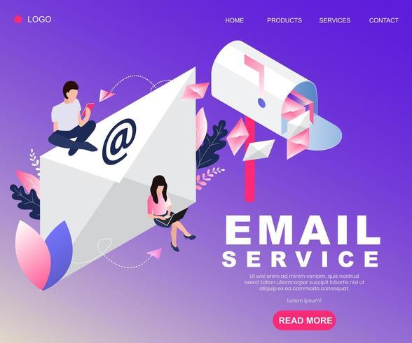 Conception de concept isométrique de service de courrier électronique vecteur