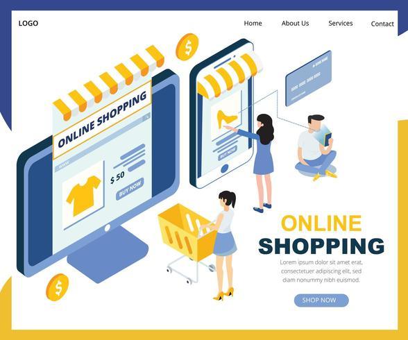 Graphique isométrique des achats en ligne vecteur