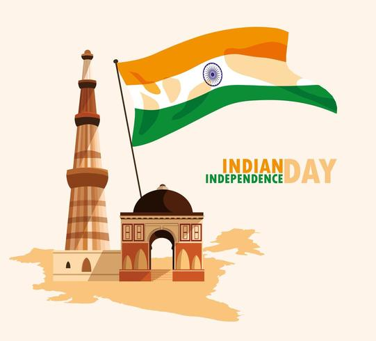 affiche de la fête de l'indépendance indienne avec drapeau et jama masjid vecteur