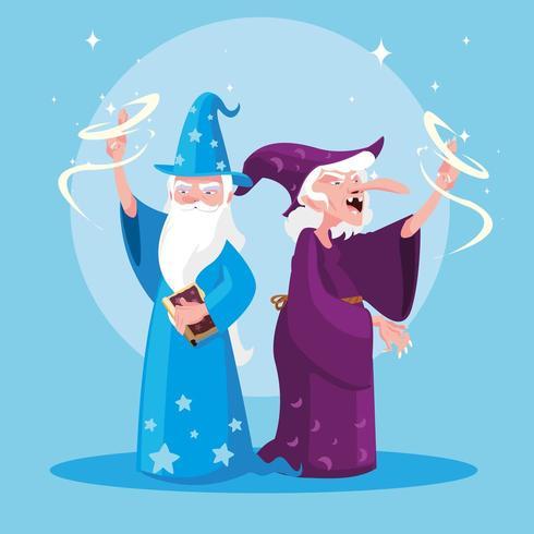 sorcier avec la sorcière du personnage d'avatar de conte de fées vecteur