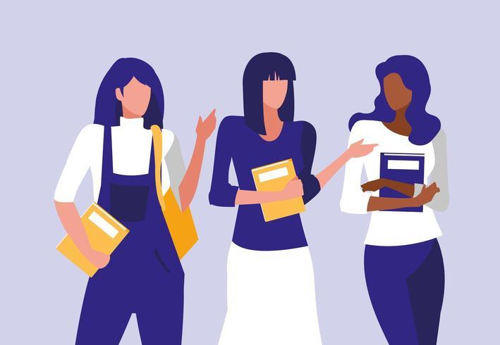 belles filles interraciales modélisation avec des cahiers vecteur