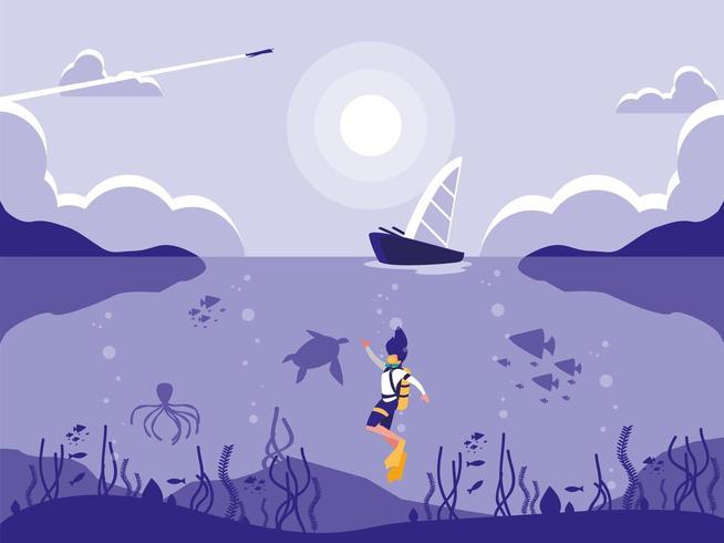 plongeur dans l'icône de la scène paysage marin tropical vecteur