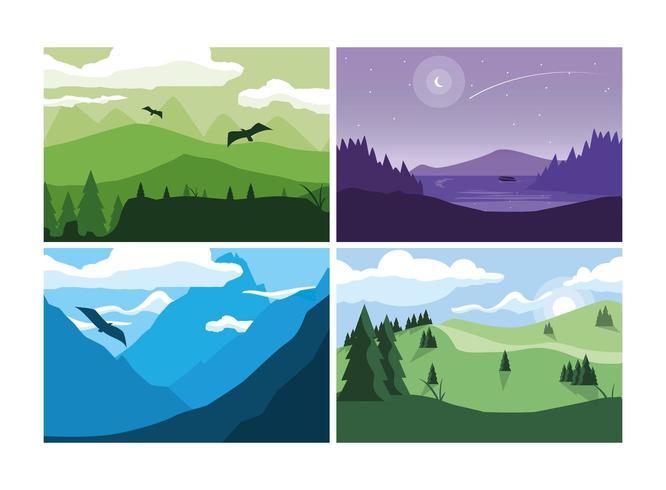 Wanderlust Poster avec ensemble de paysages vecteur