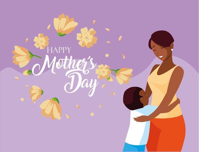 carte de fête des mères heureuse avec maman et fils vecteur