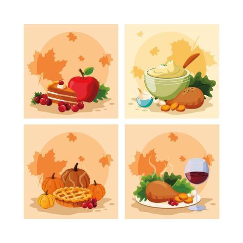 dîner de dinde du jour de thanksgiving avec icônes définies vecteur