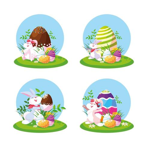 Lapins de Pâques avec des oeufs dans le jardin vecteur