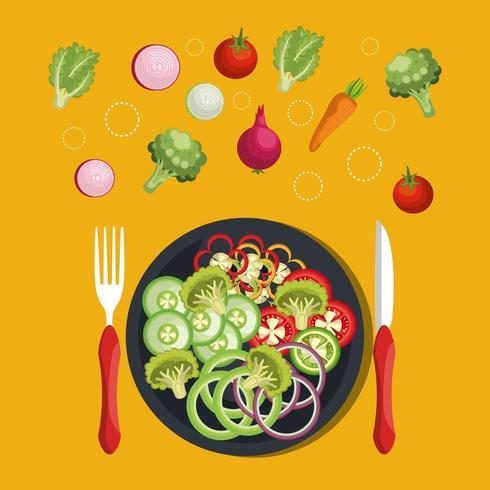 aliment diététique végétalien sur plaque vecteur