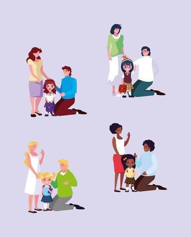 groupe mignonne petites étudiantes filles avec parents vecteur