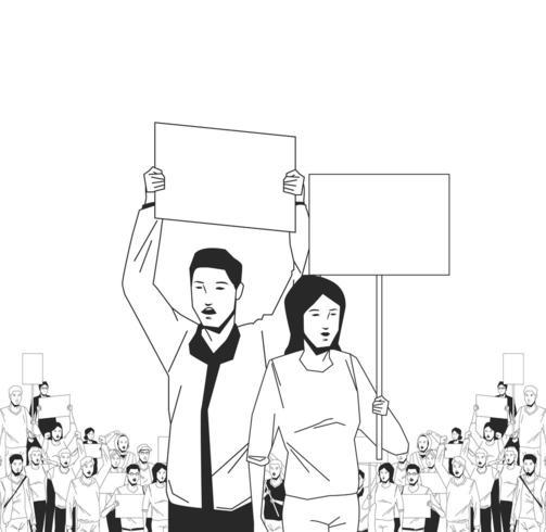 Homme et femme avec une affiche vierge à la démonstration vecteur