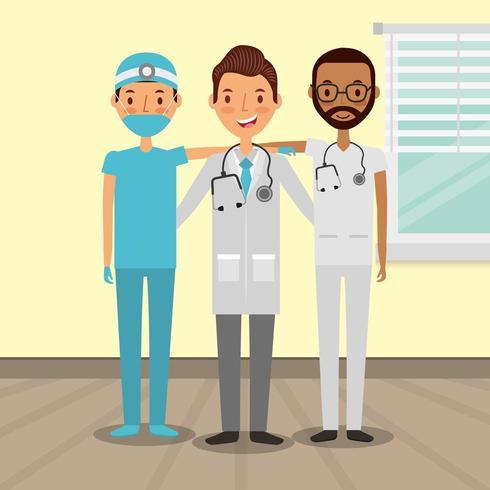 Médecins masculins divers vecteur