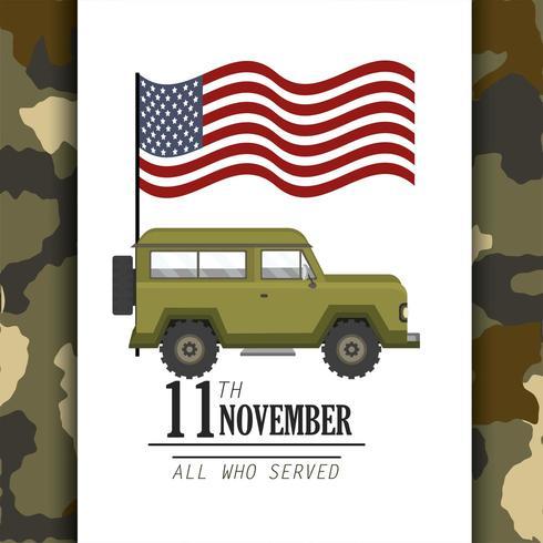 drapeau des états-unis et voiture militaire vecteur