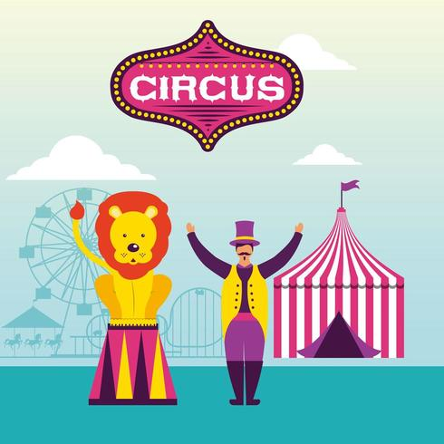 Scène de cirque rétro vecteur
