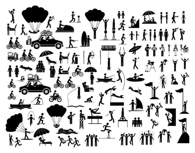 Ensemble de personnes faisant des icônes d'activités vecteur