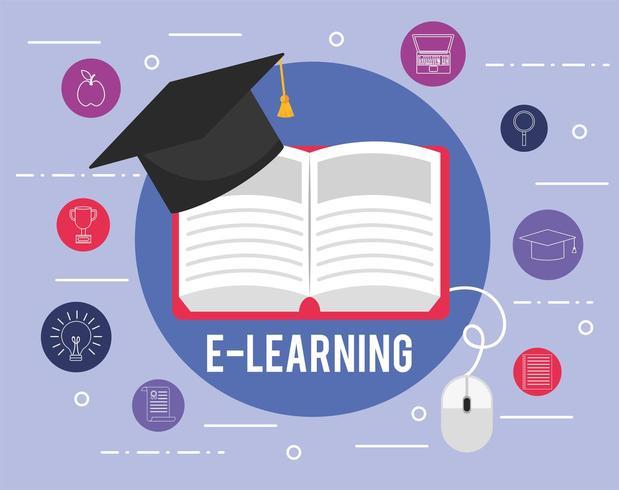 livre d'éducation elearning avec chapeau de graduation et icônes vecteur