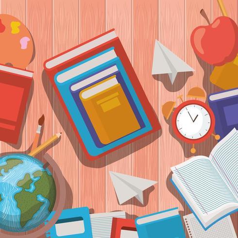 fournitures scolaires retour au cadre scolaire vecteur