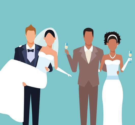 Caricature de couples de mariage vecteur