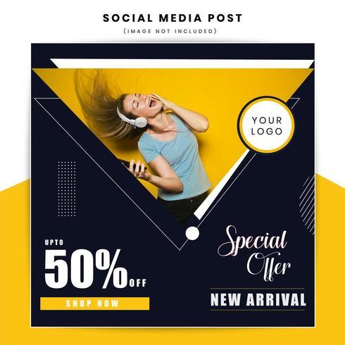 Bannière web social de vente de style moderne vecteur