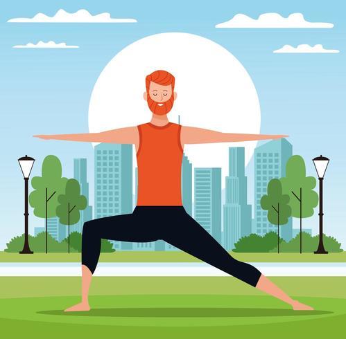 Homme faisant du yoga dans le parc vecteur