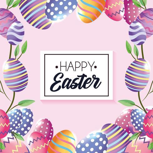 Joyeux Pâques emblème avec des décorations d'oeufs et des feuilles de plantes vecteur