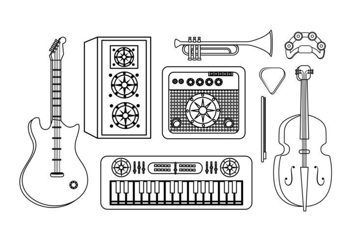 ensemble de matériel de musique professionnel vecteur