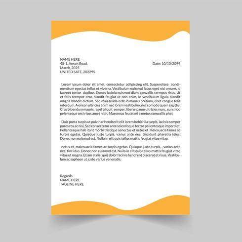 Modèle de conception papier à en-tête vague jaune vecteur