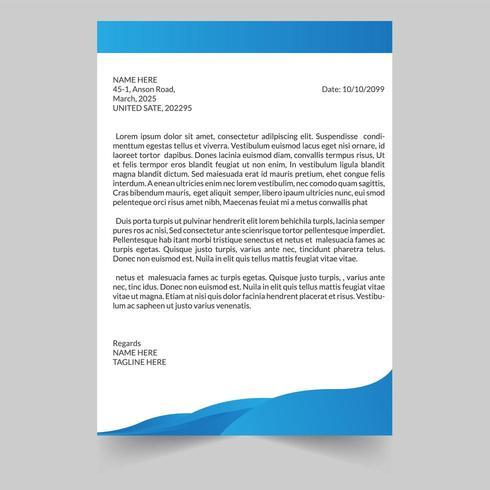 Papier à en-tête Blue Wave Business Tepmlate vecteur