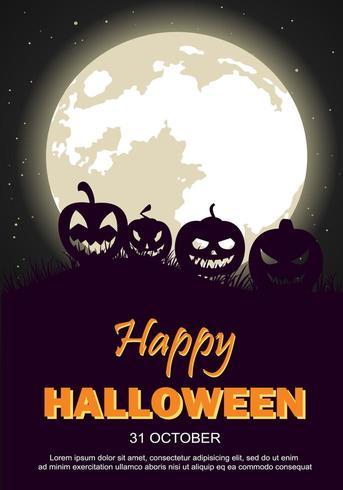 Affiche de fête d'Halloween avec lune et citrouilles vecteur