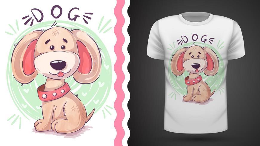 Tee-shirt drole teddy dog - idea for print vecteur