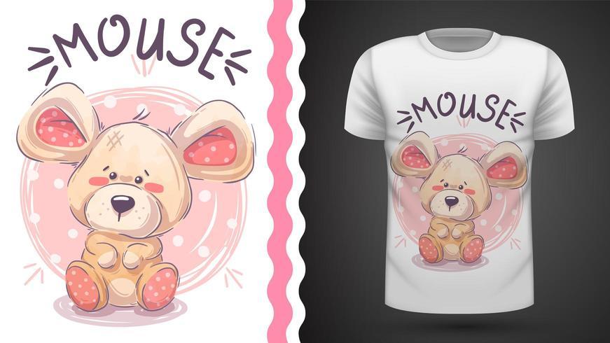 Souris en peluche mignonne - idée d'un t-shirt imprimé vecteur