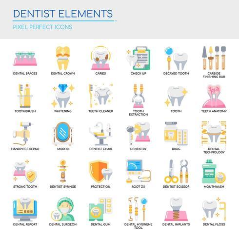 Ensemble de dentiste Elements fine ligne et pixel des icônes parfaites pour tout projet web et application. vecteur