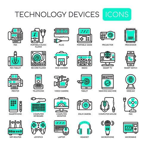 Ensemble de technologie technologie fine ligne et pixel des icônes parfaites pour tout projet web et application. vecteur