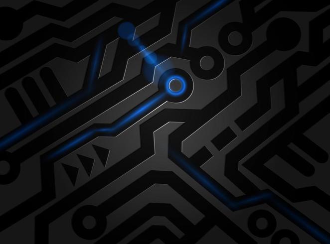 Modèle abstrait de technologie noir et bleu vecteur