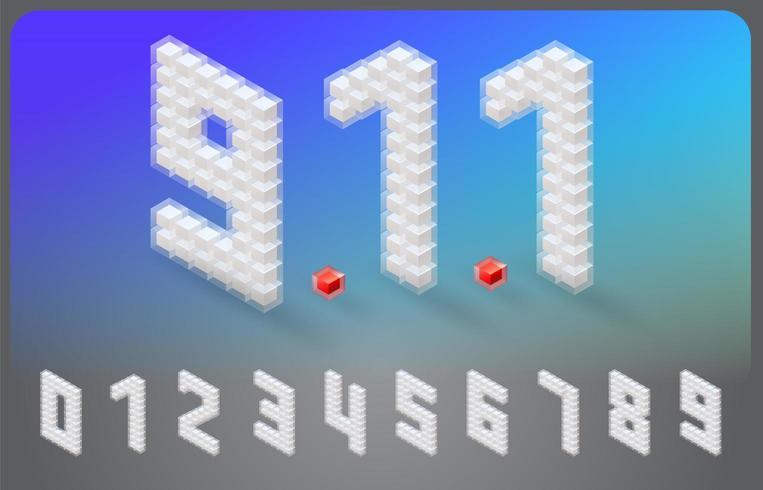 Police de numéro isométrique dans la conception de cube vecteur