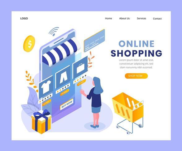 Page de destination isométrique des achats en ligne vecteur