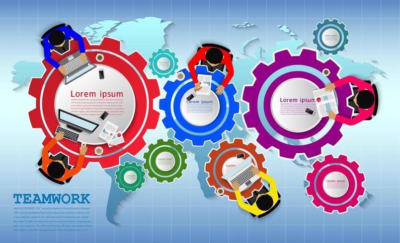 Concept d'entreprise de réunion de travail d'équipe divers vecteur