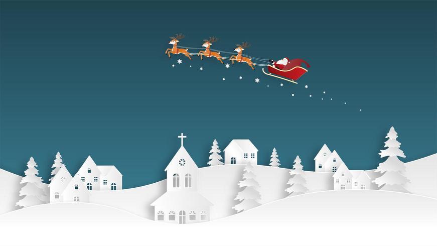 Carte de voeux joyeux Noël en style de papier découpé vecteur
