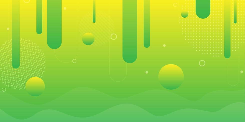 Fond de forme géométrique rétro lumineux vert et jaune vecteur