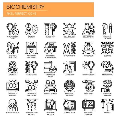 Biochemistry Elements, Thin Line et Pixel Perfect Icons vecteur