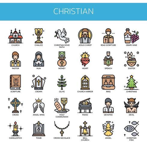 Christian Elements, Thin Line et Pixel Perfect Icons vecteur