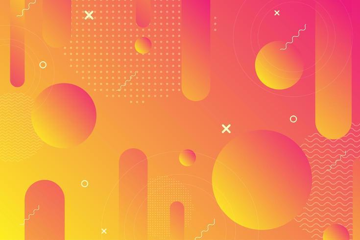 Fond de formes rétro géométriques orange et jaune vecteur