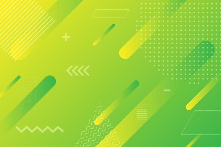 Formes géométriques dégradé vert jaune fluo vecteur