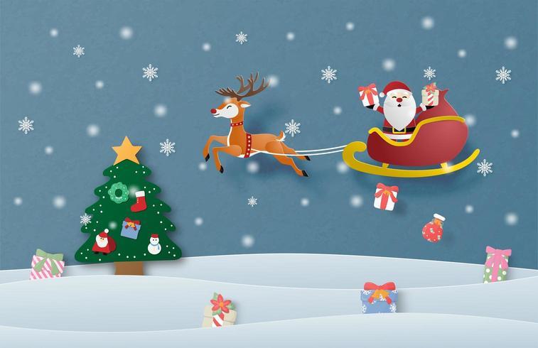 Joyeux Noël carte en papier coupé style vecteur