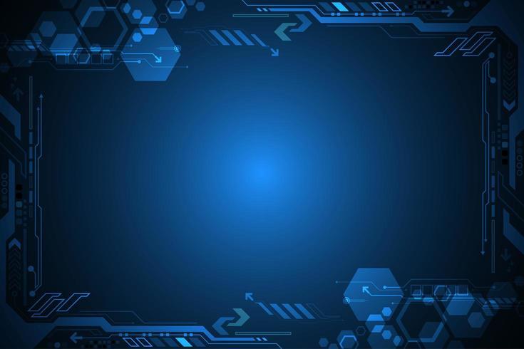 Cadre technologique numérique brillant futuriste vecteur
