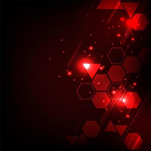Fond tech rouge hexagone rougeoyant vecteur
