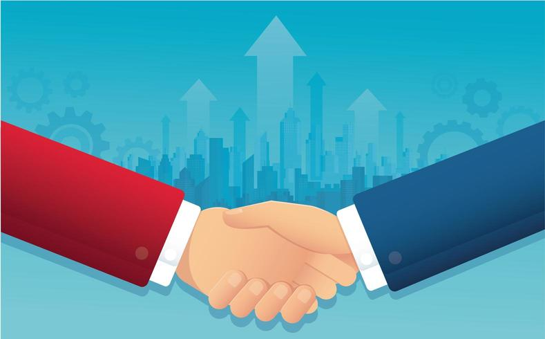 négociation d'affaires avec le paysage urbain vecteur