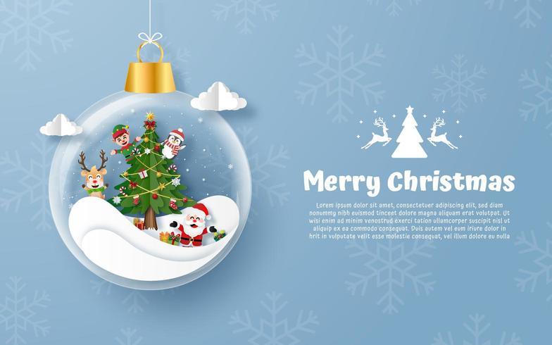 Carte postale de style d'origami d'ornement de joyeux Noël vecteur